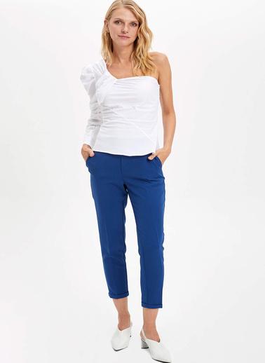DeFacto Tek Omzu Açık Slim Fit Bluz Beyaz